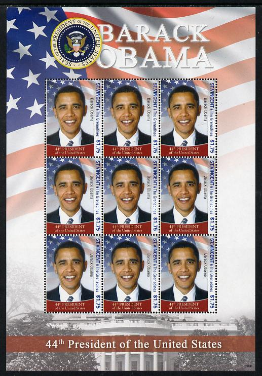 St Vincent 2009 Barack Obama - 44th President of the United States perf sheetlet containing 9 values unmounted mint