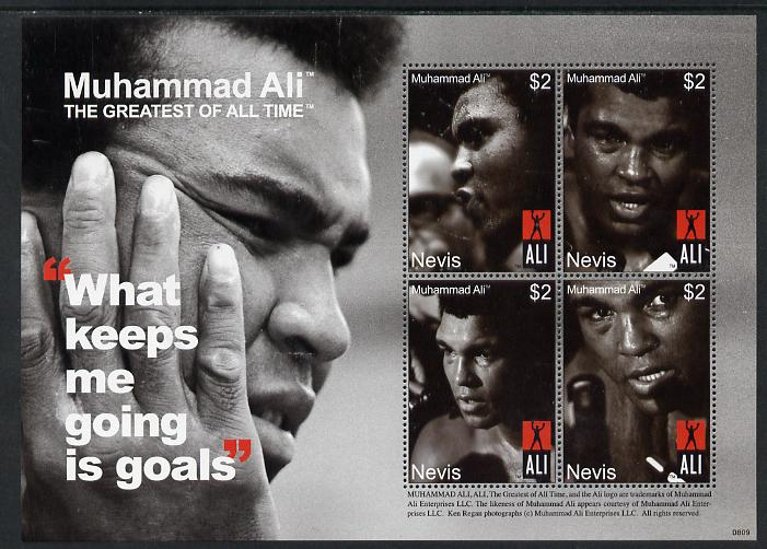 Nevis 2008 Muhammad Ali - The Greatest of All Time #2 perf sheetlet containing 4 x $2 values unmounted mint SG 2094-97