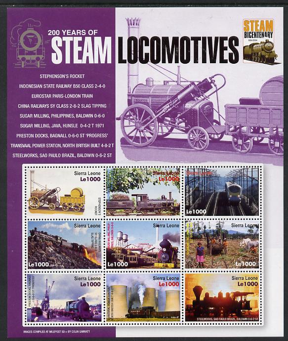 Sierra Leone 2004 200 Years of Steam Locomotives #1 perf sheetlet containing 9 values unmounted mint SG MS 4299b