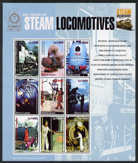 Sierra Leone 2004 200 Years of Steam Locomotives #2 perf sheetlet containing 9 values unmounted mint SG MS 4299d