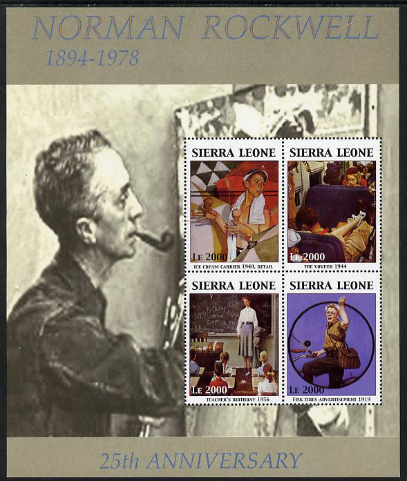 Sierra Leone 2004 25th Death Anniversary of Norman Rockwell perf sheetlet containing 4 values unmounted mint SG MS 4182