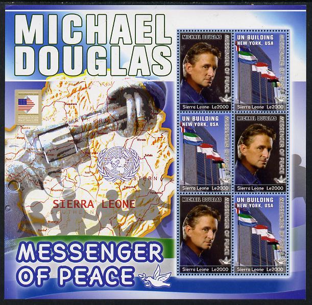 Sierra Leone 2006 Michael Douglas - UN Messenger of Peace perf sheetlet containing 6 values unmounted mint as SG 4445-46