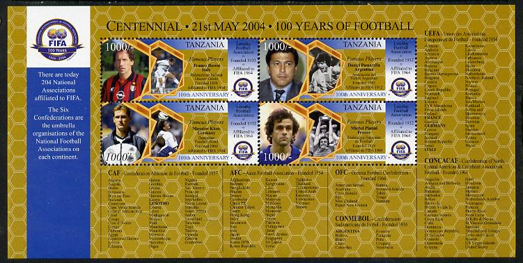 Tanzania 2004 Football - Centenary of FIFA perf sheetlet containing 4 values unmounted mint