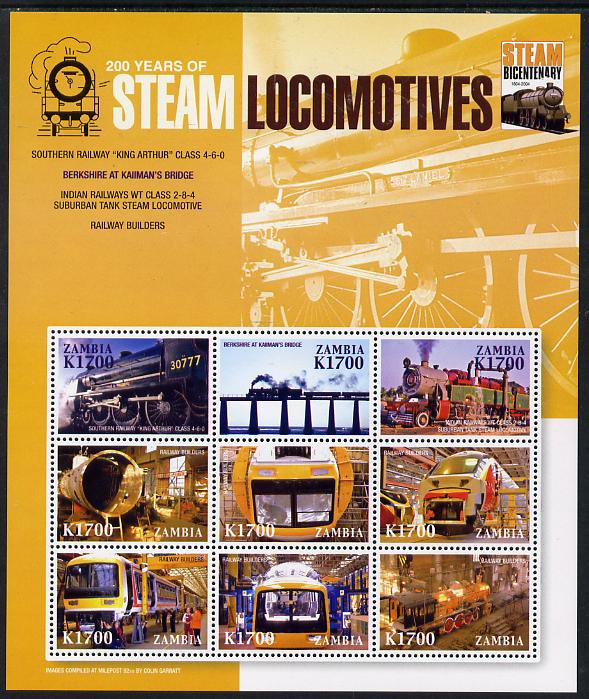 Zambia 2004 200 Years of Steam Locomotives perf sheetlet containing 9 values unmounted mint