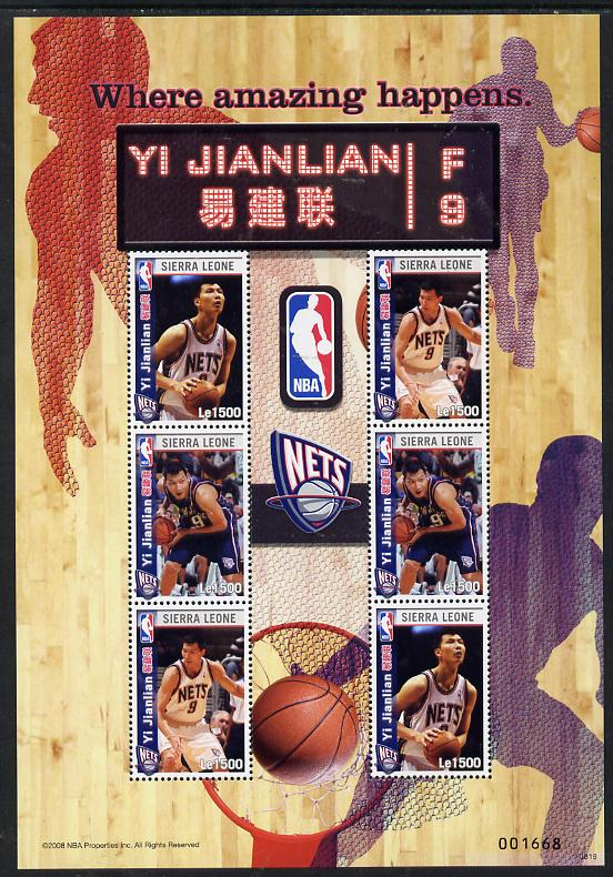 Sierra Leone 2009 National Basketball Association - Yi Jianlian perf sheetlet containing 6 values unmounted mint SG MS 4650