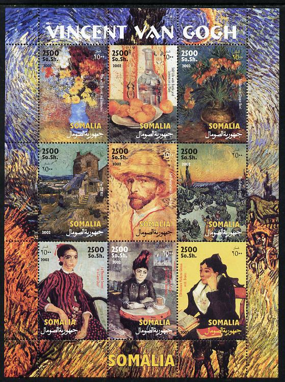 Somalia 2002 Paintings by Vincent Van Gogh perf sheetlet containing 9 values unmounted mint. Note this item is privately produced and is offered purely on its thematic ap...