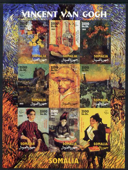 Somalia 2002 Paintings by Vincent Van Gogh imperf sheetlet containing 9 values unmounted mint. Note this item is privately produced and is offered purely on its thematic ...