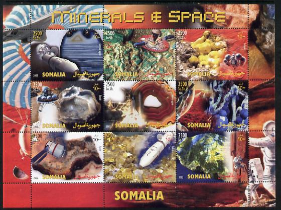 Somalia 2002 Minerals & Space perf sheetlet containing 9 values unmounted mint. Note this item is privately produced and is offered purely on its thematic appeal