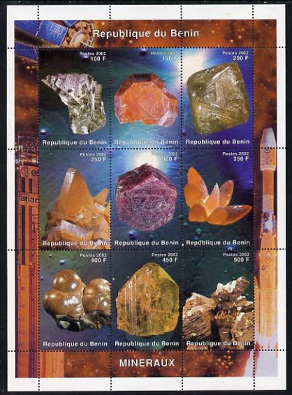Benin 2002 Minerals perf sheetlet containing 9 values unmounted mint. Note this item is privately produced and is offered purely on its thematic appeal