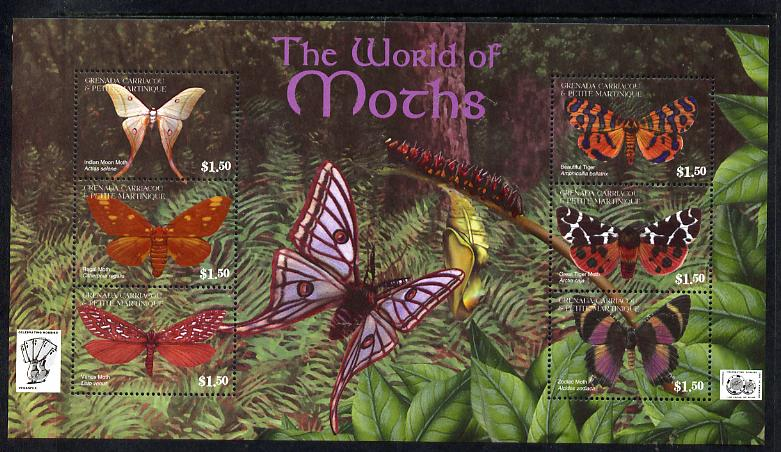 Grenada - Grenadines 2001 Moths perf sheetlet containing 6 values unmounted mint SG 3528-33