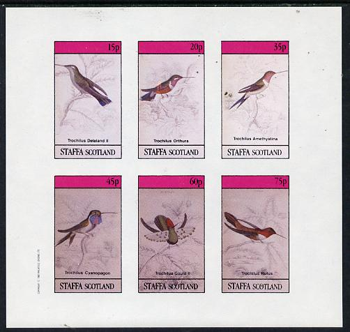 Staffa 1982 Humming Birds #05 imperf set of 6 values (15p to 75p) unmounted mint