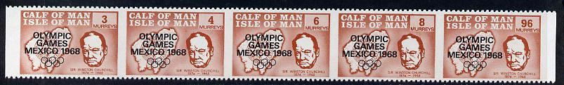 Calf of Man 1968 Olympic Games Mexico overprinted on Churchill strip set of 5 in brown with vertical perfs omitted, unmounted mint as Rosen CA123-27