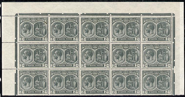 St Kitts-Nevis 1920-22 KG5 MCA Medicinal Spring 2d slate-grey marginal block of 15 Rows 1, 2 & 3 unmounted mint SG 27