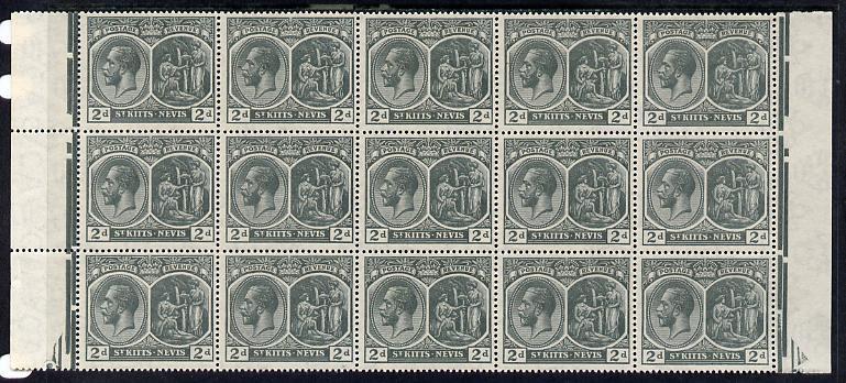 St Kitts-Nevis 1920-22 KG5 MCA Medicinal Spring 2d slate-grey marginal block of 15 Rows 4, 5 & 6 unmounted mint SG 27