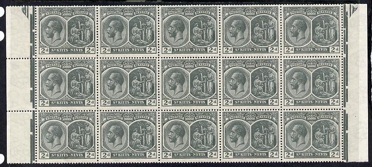 St Kitts-Nevis 1920-22 KG5 MCA Medicinal Spring 2d slate-grey marginal block of 15 Rows 7, 8 & 9 unmounted mint SG 27
