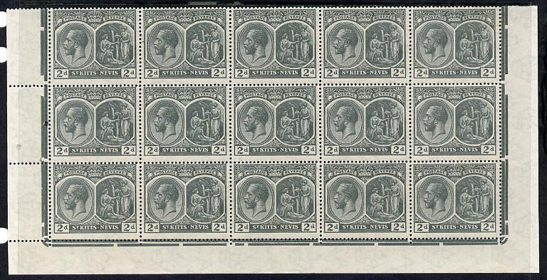St Kitts-Nevis 1920-22 KG5 MCA Medicinal Spring 2d slate-grey marginal block of 15 Rows 10, 11 & 12 without plate nos unmounted mint SG 27