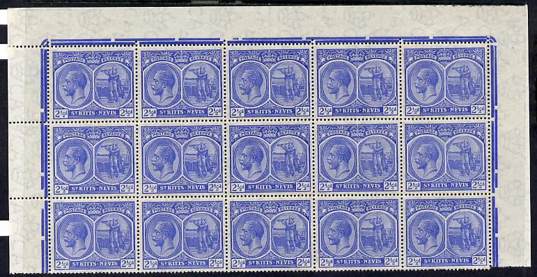 St Kitts-Nevis 1920-22 KG5 MCA Columbus 2.5d ultramarine marginal block of 15 Rows 1, 2 & 3 unmounted mint SG 28