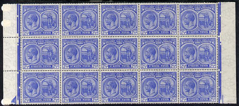 St Kitts-Nevis 1920-22 KG5 MCA Columbus 2.5d ultramarine marginal block of 15 Rows 4, 5 & 6 unmounted mint SG 28