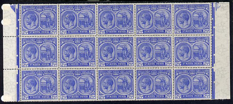 St Kitts-Nevis 1920-22 KG5 MCA Columbus 2.5d ultramarine marginal block of 15 Rows 7, 8 & 9 unmounted mint SG 28