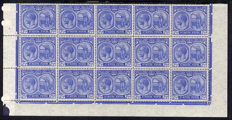 St Kitts-Nevis 1920-22 KG5 MCA Columbus 2.5d ultramarine marginal block of 15 Rows 10, 11 & 12 without plate nos unmounted mint SG 28