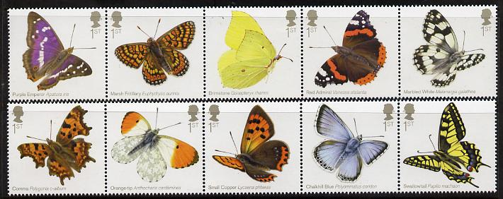 Great Britain 2013 Butterflies perf set of 10 (2 strips of 5) unmounted mint
