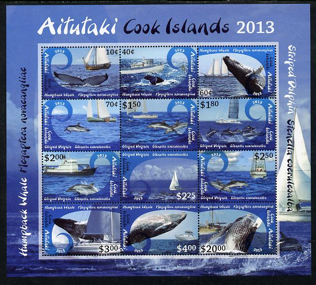 Cook Islands - Aitutaki 2013 Whales & Ships definitive perf sheetlet containing set of 12 values unmounted mint