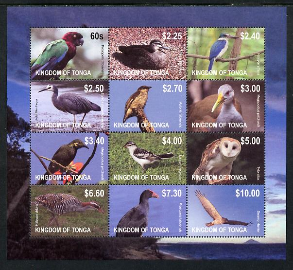 Tonga 2013 Birds #1 definitive perf sheetlet containing set of 12 values unmounted mint