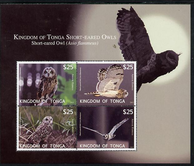 Tonga 2012 Owls (Express Mail) perf sheetlet containing set of 4 values unmounted mint