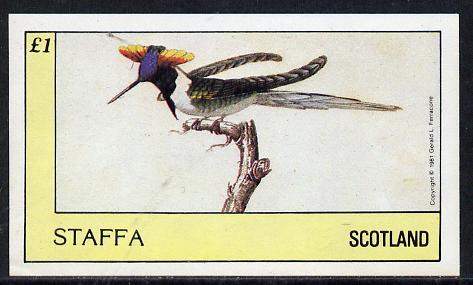 Staffa 1981 Humming Birds #04 imperf souvenir sheet (�1 value) unmounted mint