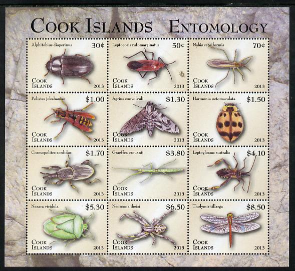 Cook Islands 2013 Entomology definitive perf sheetlet of 12 values unmounted mint