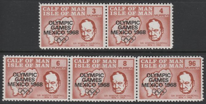 Calf of Man 1968 Olympic Games Mexico overprinted on Churchill perf set of 5 in brown P11 (as Rosen CA123-27) unmounted mint