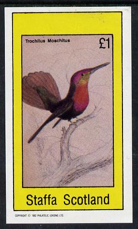 Staffa 1982 Humming Birds #06 imperf souvenir sheet (�1 value) unmounted mint