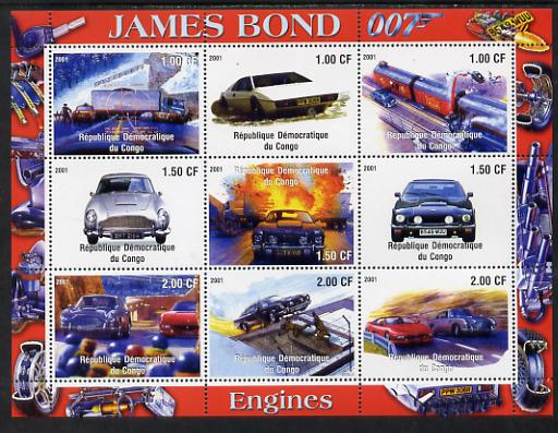 Congo 2001 James Bond - Cars #2 perf sheetlet containing 9 values unmounted mint, stamps on , stamps on  stamps on films, stamps on  stamps on movies, stamps on  stamps on cinema, stamps on  stamps on  tv , stamps on  stamps on  spy , stamps on  stamps on cars