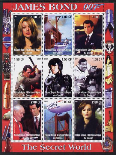 Congo 2001 James Bond - The Secret World #1 perf sheetlet containing 9 values unmounted mint