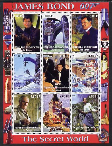 Congo 2001 James Bond - The Secret World #2 perf sheetlet containing 9 values unmounted mint