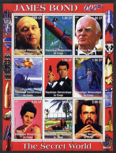 Congo 2001 James Bond - The Secret World #3 perf sheetlet containing 9 values unmounted mint