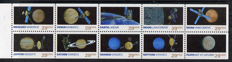 United States 1991 Space Exploration pane of 10 unmounted mint SG 2625a
