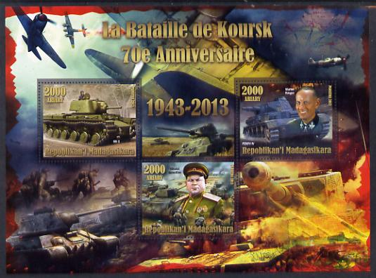 Madagascar 2014 70th Anniversary of Battle of Koursk perf sheetlet containing 3 values unmounted mint