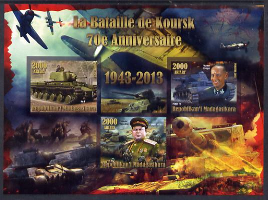 Madagascar 2014 70th Anniversary of Battle of Koursk imperf sheetlet containing 3 values unmounted mint