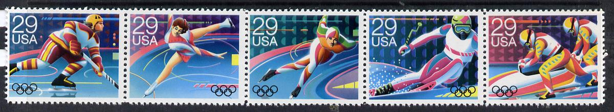 United States 1992 Albertville Winter Olympics se-tenant strip of 5 unmounted mint SG 2645a