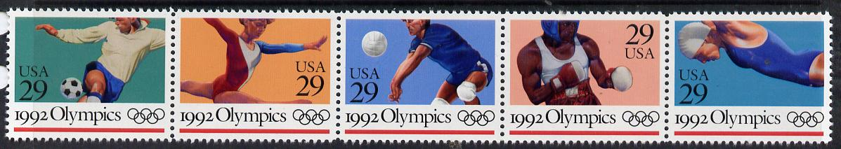 United States 1992 Barcelona Summer Olympics se-tenant strip of 5 unmounted mint SG 2667a