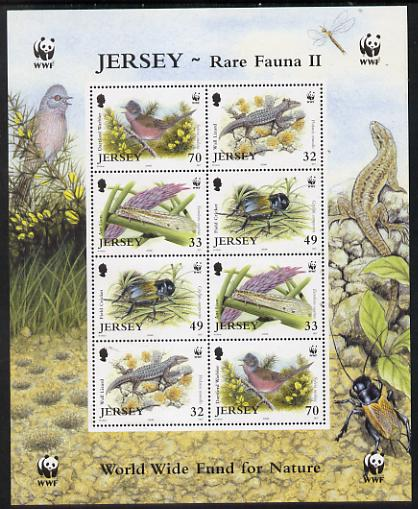 Jersey 2004 WWF - Endangered Species perf m/sheet containing two sets of 4 unmounted mint SG MS 1162