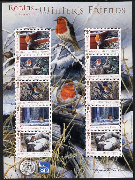 Isle of Man 2004 Robins - Winter's friends perf sheetlet containing two sets of 5 unmounted mint as SG 1185-89
