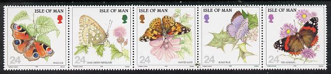 Isle of Man 1993 Butterflies strip of 5 unmounted mint SG 573a
