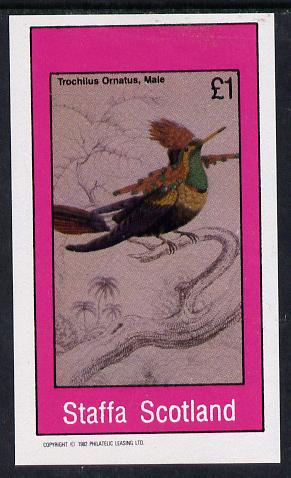 Staffa 1982 Humming Birds #07 imperf souvenir sheet (�1 value) unmounted mint