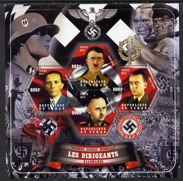 Chad 2014 Leaders in WW2 - Germany #1 - Hitler, Speer, Himmler & Goebbels perf sheetlet containing four hexagonal shaped values unmounted mint