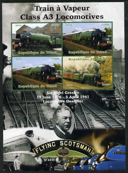 Chad 2014 Steam Trains - A3 Locomotives large perf sheetlet containing 4 values unmounted mint. Note this item is privately produced and is offered purely on its thematic appeal. .