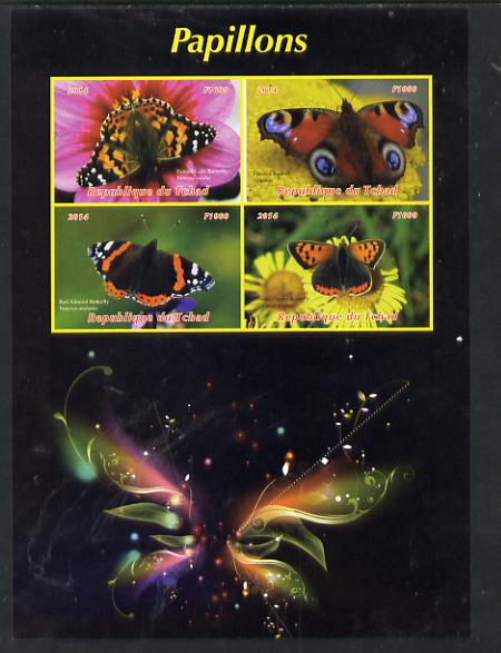 Chad 2014 Butterflies #2 large imperf sheetlet containing 4 values unmounted mint. Note this item is privately produced and is offered purely on its thematic appeal. .