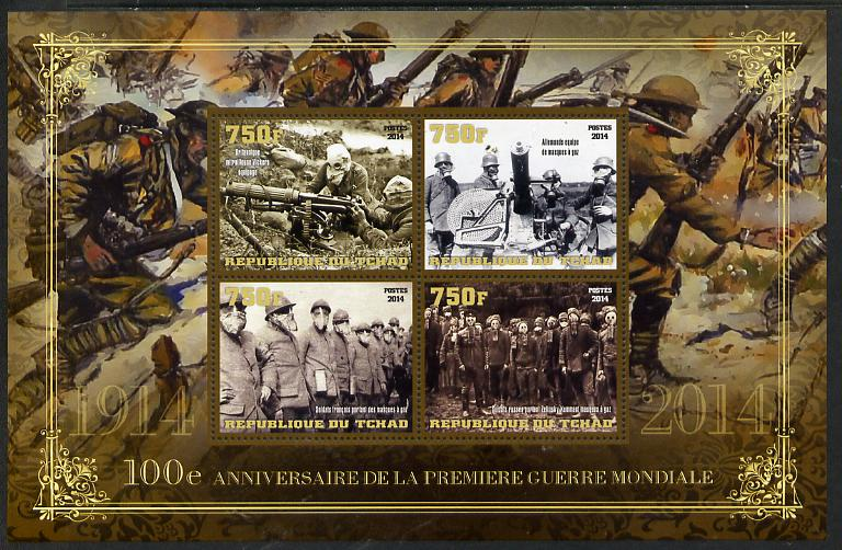 Chad 2014 Centenary of Start of WW1 #2 large perf sheetlet containing four values unmounted mint