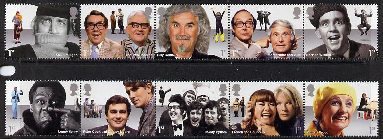 Great Britain 2015 Comedy Greats set of 10 (2 se-tenant strips) unmounted mint